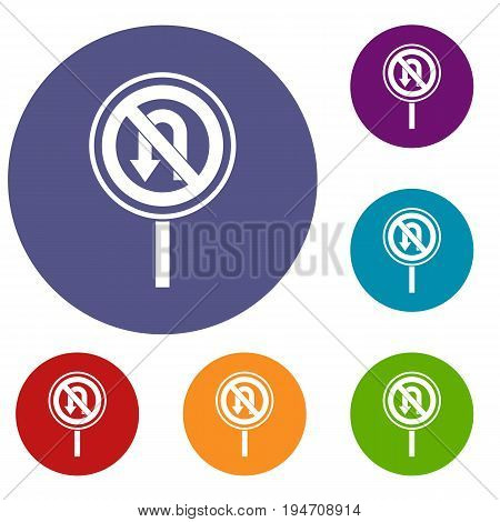 No U turn road sign icons set in flat circle reb, blue and green color for web