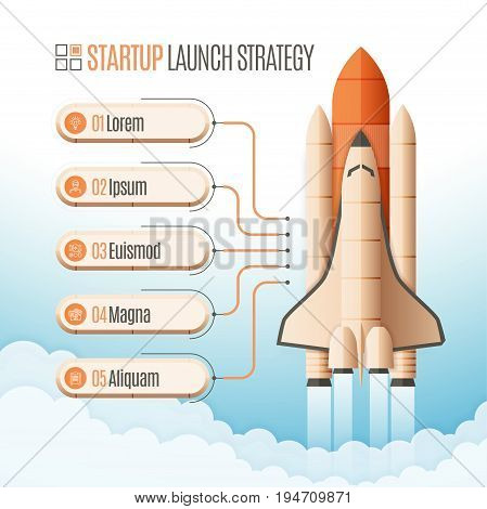 Infographics template with a five structure elements of startup strategy. Rocket or space shuttle launch. Vector illustration