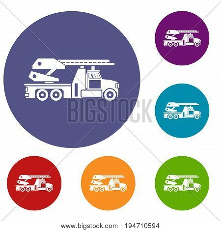 Fire engine icons set in flat circle reb, blue and green color for web