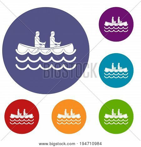 Canoeing icons set in flat circle reb, blue and green color for web