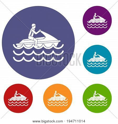 Man on jet ski rides icons set in flat circle reb, blue and green color for web