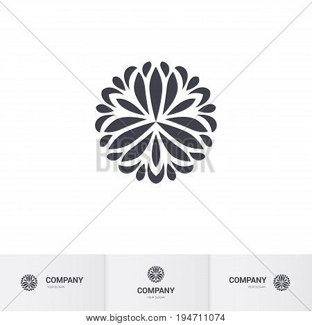 Abstract Floral Geometric Element for Circular Logo. Company Emblem Element. Simple Geometric Mandala Logotype