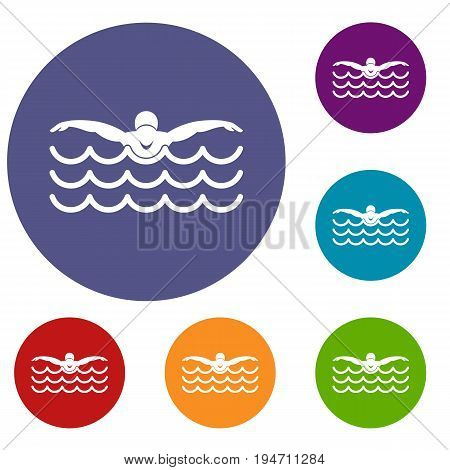 Butterfly swimmer icons set in flat circle reb, blue and green color for web