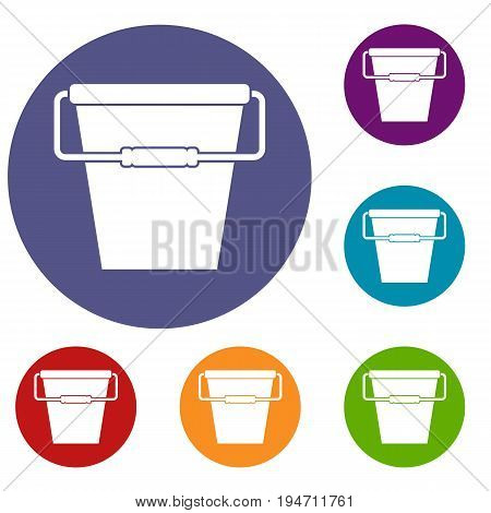 Empty bucket icons set in flat circle reb, blue and green color for web