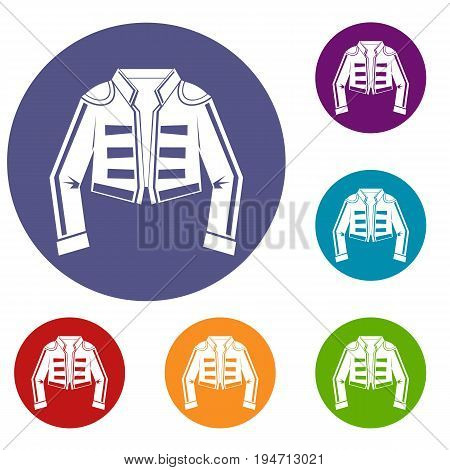 Costume of toreador icons set in flat circle reb, blue and green color for web