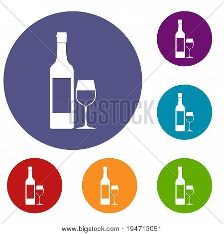 Bottle of wine icons set in flat circle reb, blue and green color for web
