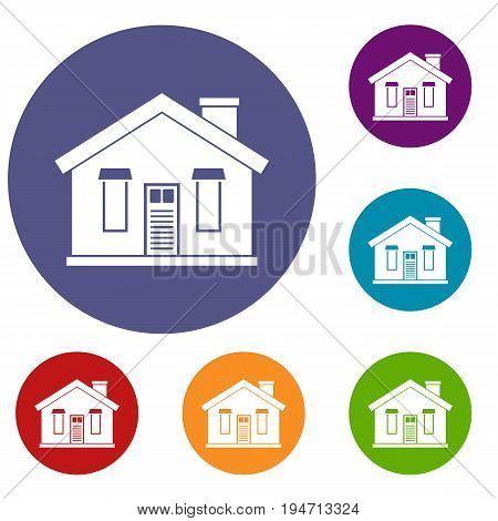 House icons set in flat circle reb, blue and green color for web