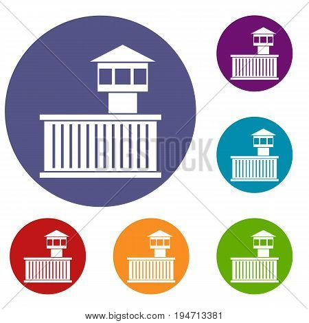 Prison tower icons set in flat circle reb, blue and green color for web