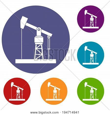 Oil pump icons set in flat circle reb, blue and green color for web