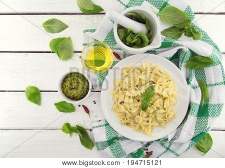 Farfalle Pasta With Pesto Genovese (basil Sauce) On White Rustic Wooden Table. Italian Cuisine.  Fla