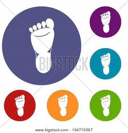 Foot left leg icons set in flat circle reb, blue and green color for web