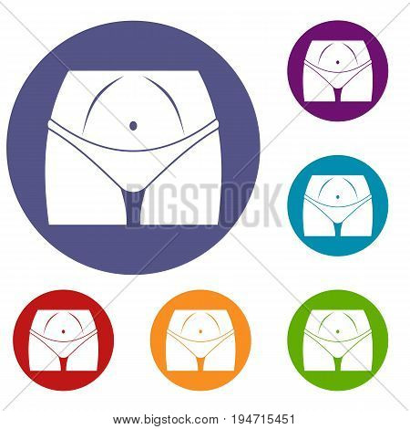 Slim woman body in panties icons set in flat circle reb, blue and green color for web
