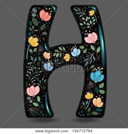 Letter H with Floral Decor. Black glared symbol. Colorful graceful flowers plants and blurs with watercolor effect. Gray background. Vector Illustration