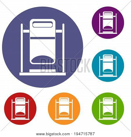Swinging trashcan icons set in flat circle reb, blue and green color for web