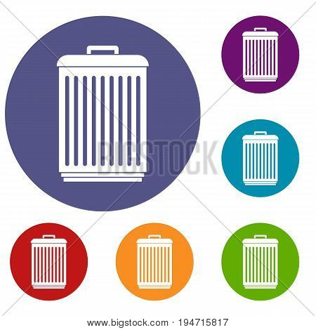 Trashcan icons set in flat circle reb, blue and green color for web