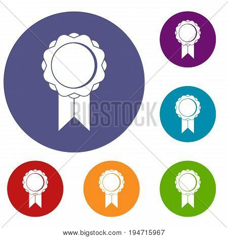Rosette with ribbon icons set in flat circle reb, blue and green color for web