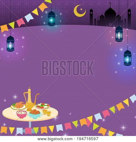 Islamic Ramadan iftar dinner vector image design