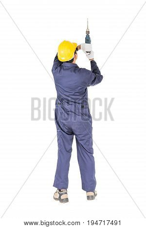 Handyman In Unifrom Standing With His Electric Drill