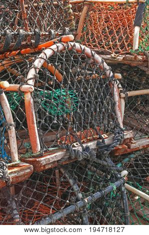 Stack of lobster crab pots traps , ocean theme