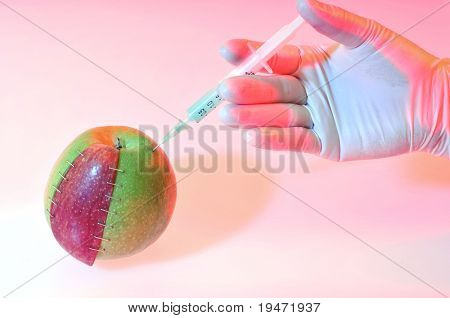 Genetically modified objects concept made by different types and colors of apples stapled together and given injection with dramatic lighting