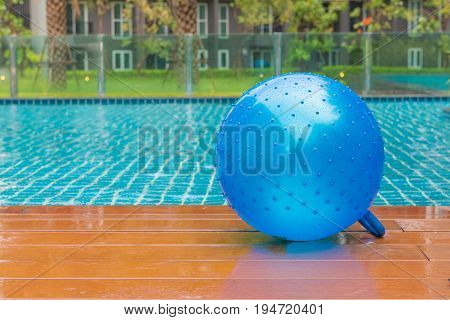 Fitness Ball On Swimming Pool, Summer Vacation Concept