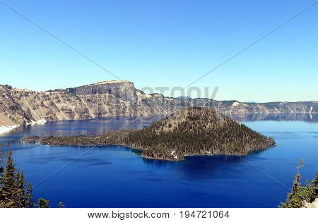 Beautiful view on Crater Lake and Wizard Island. Crater Lake National Park, Oregon