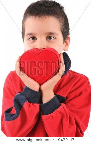 White background, high resolution, vertical studio image of an adorable little boy giving his red heart.