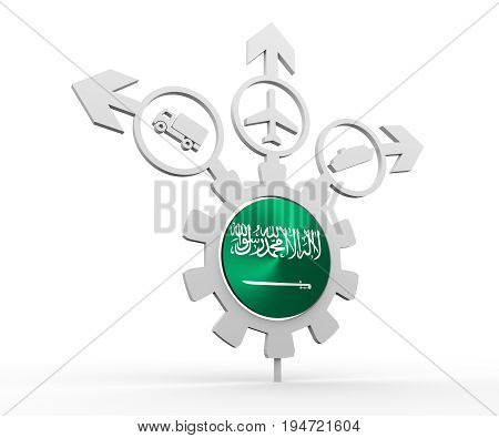 Delivery emblem design. Truck, airplane and ferry boat icons on destination arrows. Flag of the Saudi Arabia in the center of gear. 3D rendering