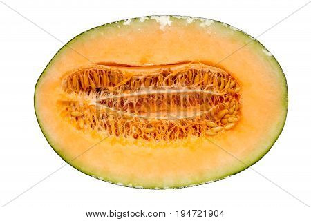 Half hamigua melon is wrapped by plastic film for protection isolated on white background.