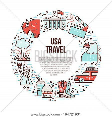 The bright symbols of America in line style placed in a circle vector illustration.