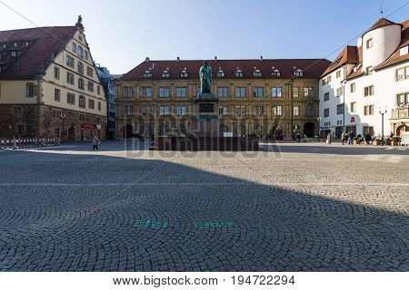 STUTTGART GERMANY - MARCH 18 2016: Schillerplatz - square in the old town. Stuttgart is the capital and largest city of the state of Baden-Wuerttemberg.