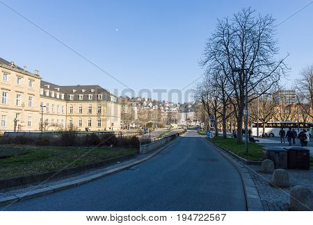 STUTTGART GERMANY - MARCH 18 2016: The streets of the city. Stuttgart is the capital and largest city of the state of Baden-Wuerttemberg.
