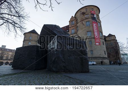 STUTTGART GERMANY - MARCH 18 2016: Memorial for the Victims of National Socialism on the background of the Old Castle.