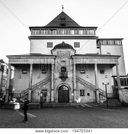 STUTTGART GERMANY - MARCH 18 2016: Gustav-Siegle-Haus is a music venue. Black and white. The building was completed in 1912 by architect Theodor Fischer.
