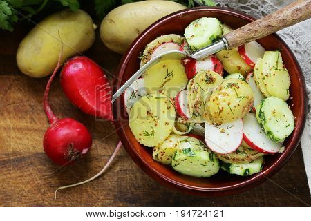 Potato salad with radish and cucumber, mustard dressing