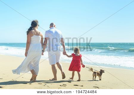 Young family of three with girl in red dress on the beach, walking holding hands, playing with the dog. Candid shot, rear view, full length