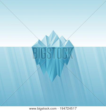 Iceberg infographic template. Polygon iceberg in flat style. Vector illustration.