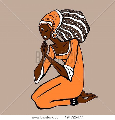 African woman in ethnic style. Beautiful Girl. Hand drawn Vector illustration