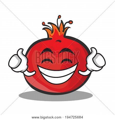 Proud face pomegranate cartoon character style vector art