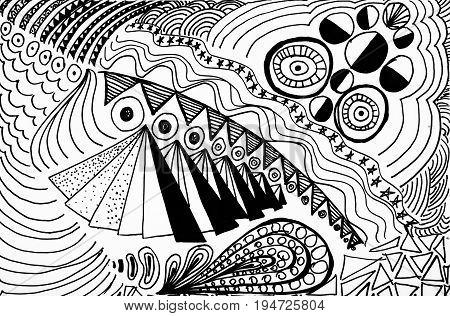Black and white abstract drawing. Drawing a fish, pyramid and eyes.