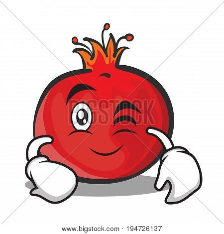 Wink face pomegranate cartoon character style vector illustration