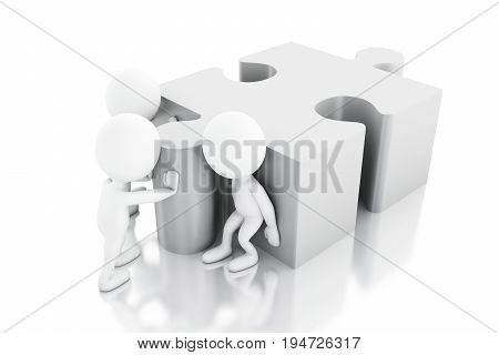 3D White People Solving A Puzzle