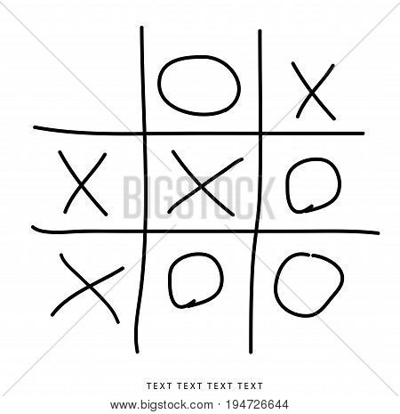 Tic-tac-toe, winning. Crosses and zeros isolated on white background