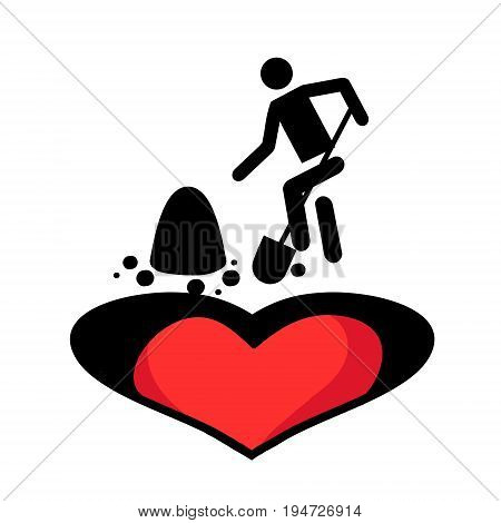 Man buries the heart. Vector illustration. Icon in style of flat. Image of unrequited love.