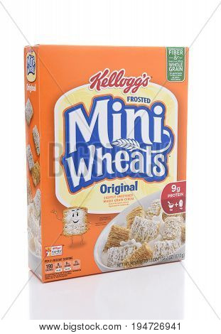 IRVINE CALIFORNIA - JULY 10 2017: Kelloggs Frosted Mini-Wheats. The shredded wheat cereal is coated with a sweet sugary frosting.