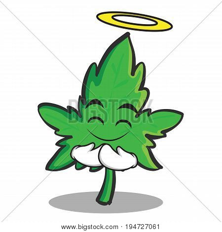 Innocent face marijuana character cartoon vector illustration