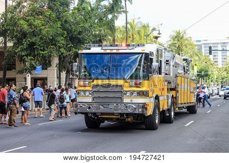 Honolulu Hawaii USA - May 30 2016: Waikiki Memorial Day Parade - Honolulu Fire Department