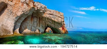 Greece, The island of Zakynthos. One of the most beautiful blue caves in the world. The Ionian Sea.