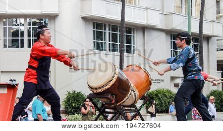 Honolulu Hawaii USA - May 30 2016: Waikiki Memorial Day Parade - Taiko Drummers