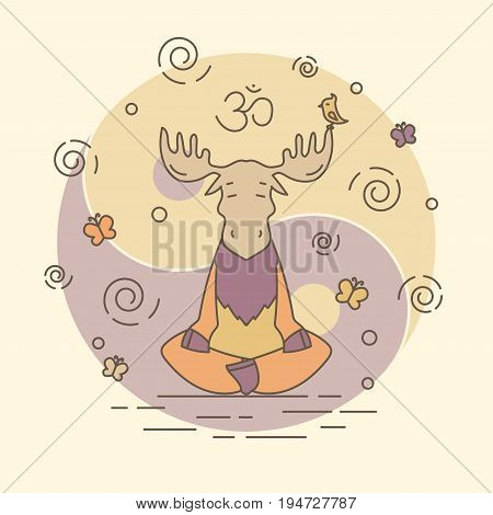 Vector illustration - meditate moose. EPS 10 Isolated object